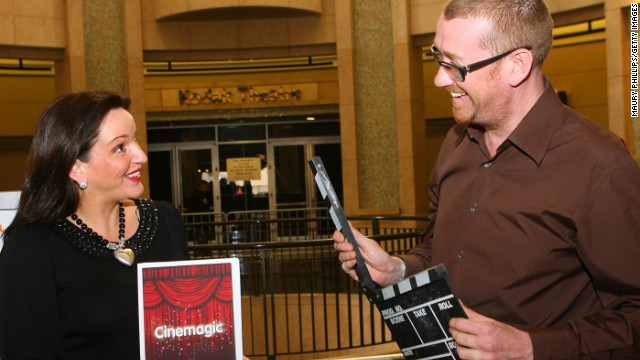 Hamish Hamilton, right, speaks at a 2010 film and TV festival with Cinemagic CEO Joan Burney Keatings.