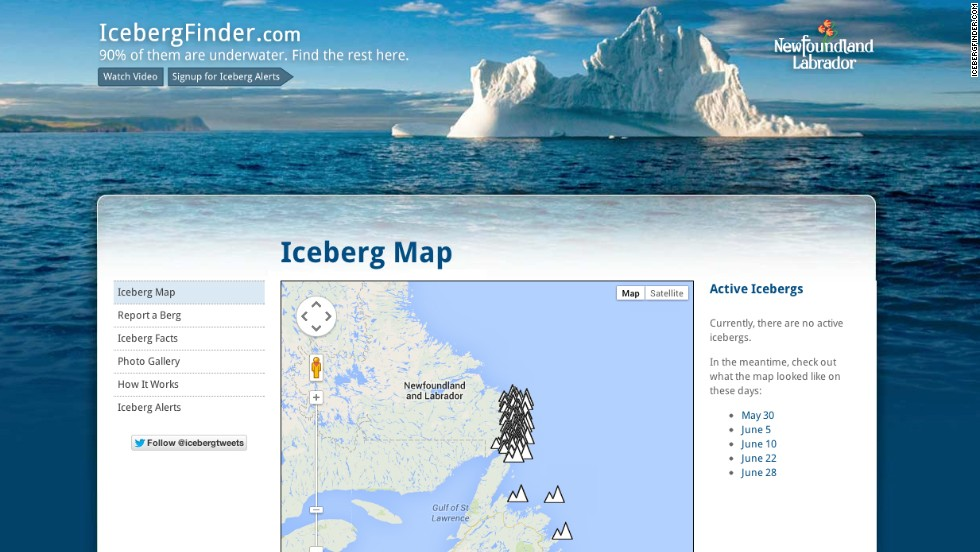 This site's map helps you avoid or seek out icebergs in Newfoundland and Labrador's Iceberg Alley.