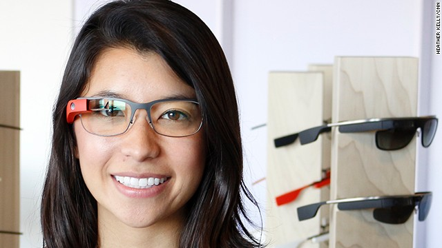 Google employee Katie Matsushima models the new Split style of Google Glass frames. She is a Glass guide at the San Francisco Glass Base Camp, where customers come to pick up their new devices.