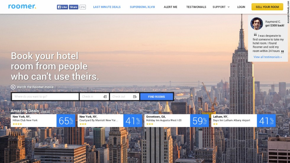 Roomer is like travel karma in website form. For helping out fellow travelers by selling off your unused rooms, you'll be rewarded with discounted hotel rates. Rooms in New York can be reduced to half price.