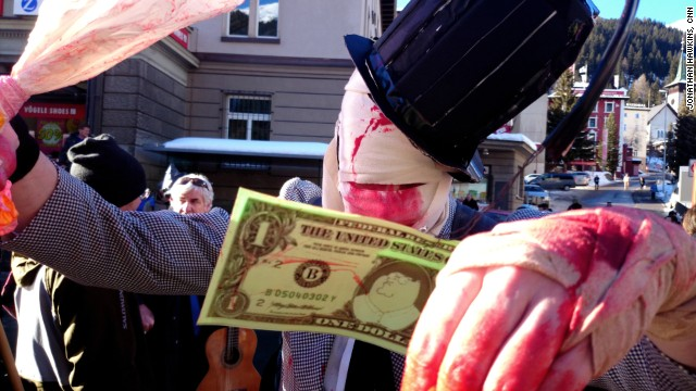 Davos protest against inequality and growth