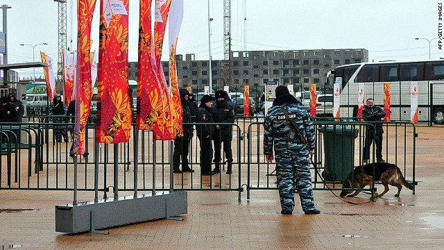 Police officers guard a stadium, the site of the Sochi 2014 Winter Olympic torch relay, in Makhachkala, the capital of Russia's troubled southern republic of Dagestan, on January 27, 2014. Insurgents based in North Caucasus republics such as Dagestan who are seeking their own independent state have vowed to disrupt the upcoming Sochi Games in a bid to undercut President Vladimir Putin. AFP PHOTO / NEWS TEAM / SERGEI RASULOVSERGEI RASULOV/AFP/Getty Images