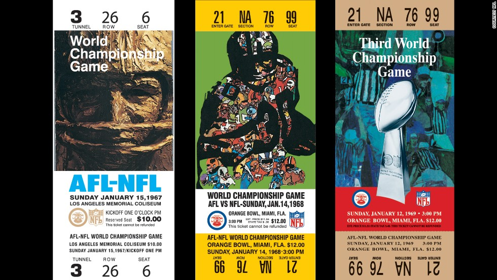 What we now know as the first Super Bowl took place January 15, 1967, at the Los Angeles Memorial Coliseum. But back then, it was just billed as the world championship game between the National Football League champion Green Bay Packers and the American Football League champion Kansas City Chiefs. The rival leagues eventually merged in 1970. Here's a look at all of the Super Bowl tickets, one of the most coveted in sports.