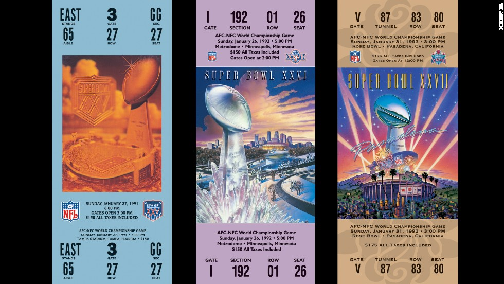 Tickets for Super Bowls XXV, XXVI and XXVII.