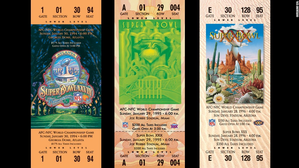 Tickets for Super Bowls XXVIII, XXIX and XXX.