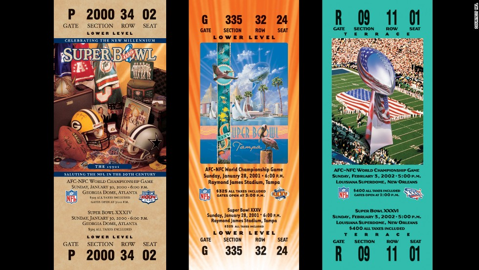 Tickets for Super Bowls XXXIV, XXXV and XXXVI.