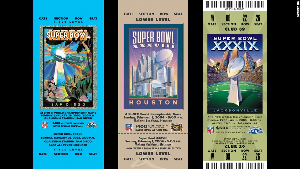 Tickets for Super Bowls XXXVII, XXXVIII and XXXIX.