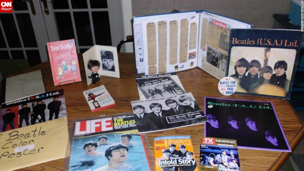 "<a href=""http://ireport.cnn.com/docs/DOC-1076420"">Diane Salsbery</a> of Phoenix has collected Beatles memorabilia for 50 years. ""Most of the memorabilia that I have includes articles from magazines, concert programs, the script from 'A Hard Day's Night,' a Beatles poster from '16' magazine, the Christmas record, and almost all of the original albums and singles including the DJ copy of 'Please, Please Me.'"""