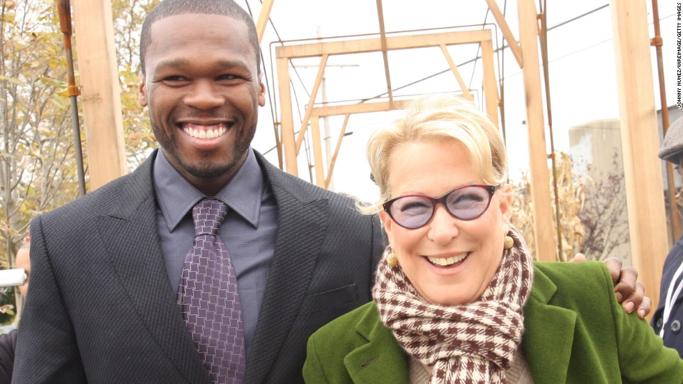 "It turns out that Meryl Streep isn't 50 Cent's only high-powered friend. He's also pals with Bette Midler, volunteering for Midler's New York Restoration Project. ""He's really made my life worth living,"" <a href=""http://www.nydailynews.com/entertainment/gossip/50-cent-bette-midler-odd-pairing-restoration-project-article-1.372944"" target=""_blank"">Midler said in 2009</a>. ""(50) has been with me through thick and thin."""