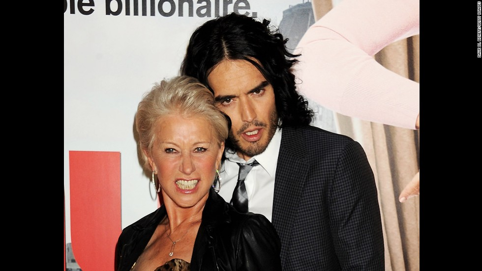 "Helen Mirren and Russell Brand have a rather, er, intimate friendship. The two ""Arthur"" co-stars get along well off-set, too, <a href=""http://www.nydailynews.com/entertainment/tv-movies/lather-helen-mirren-caught-giving-russell-brand-bath-set-arthur-article-1.201435"" target=""_blank"">as this photo of Mirren</a> giving Brand a bath in 2010 shows. ""We are best ... we are really close friends,"" Mirren told <a href=""http://www.usmagazine.com/celebrity-body/news/helen-mirren-im-going-to-frame-russell-brands-underwear-2011241"" target=""_blank"">Us Weekly</a> in 2011."