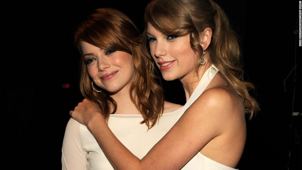 "Speaking of Selena Gomez, one of her definite BFFs, Swift, is also surprisingly good pals with Emma Stone. We didn't think the worlds of Hollywood and Nashville crossed all that much, but Stone loves that Swift can make her laugh. ""We're very different, but (Swift) has a sick sense of humor,"" <a href=""http://www.mtv.com/news/articles/1635422/taylor-swift-has-sick-sense-humor-pal-emma-stone.jhtml"" target=""_blank"">Stone once told MTV.</a>"