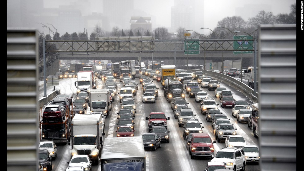 Motorists jam Interstate 75/85 in Atlanta on January 28.