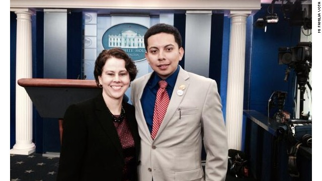 "Cristian Avila, 23, here with director of the White House Domestic Policy Council Cecilia Muñoz, was invited to sit in Michelle Obama's viewing box for the State of the Union as part of the President's message to ""get immigration reform done this year."""