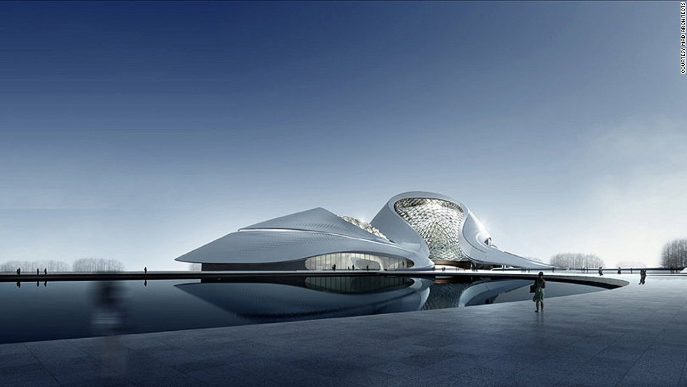 "<em>Harbin Cultural Center</em><br /><br />This curvy, organic structure, designed by <a href=""http://www.i-mad.com/"" target=""_blank"">MAD Architects</a>, is located in the northeast of China and surrounded by rivers. Unlike most other centers of culture, it is not based in the heart of the city, but aims to join art and nature in an integrated environment."
