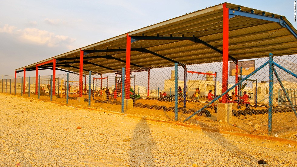 There are several play areas for children in Zaatari, which is run jointly by the U.N. and the Jordanian government.