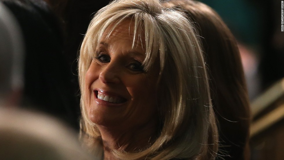 Jill Biden, wife of Vice President Joe Biden, showed up at the State of the Union address with her left arm in a sling. Biden broke her wrist in a fall last week, the White House said. She'll wear a cast for about six weeks.