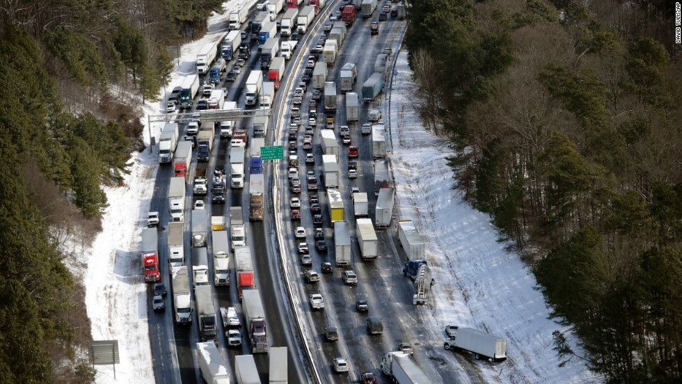 Traffic is snarled along Interstate 285, north of metro Atlanta, on January 29.