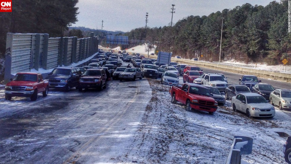 "While walking to the grocery store in Roswell, Georgia, Smith Culberson came across <a href=""http://ireport.cnn.com/docs/DOC-1079497"">an entire highway of abandoned vehicles</a>. ""Most cars couldn't drive up the exit ramp because of the ice,"" he said."