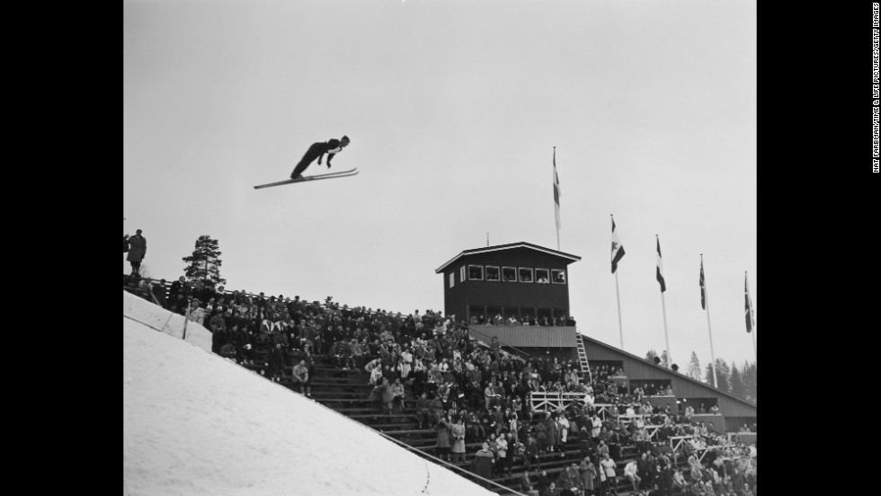 An Olympic ski jumper takes flight at the Winter Olympics in Oslo, Norway, in 1952.