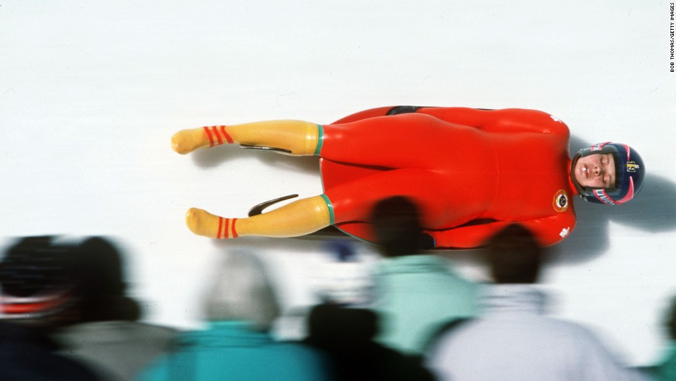 The Soviet Union's Irina Kusakina competes in the women's luge event at the 1988 Winter Games in Calgary, Alberta.