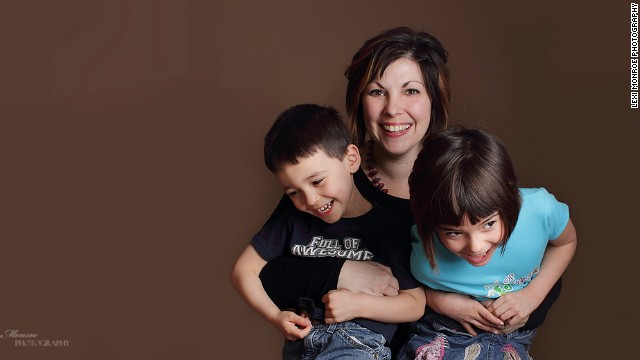 Author Melissa Atkins Wardy with her 5-year-old son Benny and 8-year-old daughter Amelia.