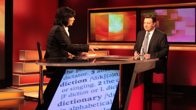 CNN's Christiane Amanpour interviews Michael Proffitt, Chief Editor of the Oxford English Dictionary, in London on January 30, 2014.