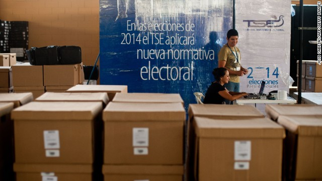 Election officers prepare data transmision system packages in San Salvador, El Salvador on January 30, 2014 in the preparation for the presidential elections to be held on February 2.