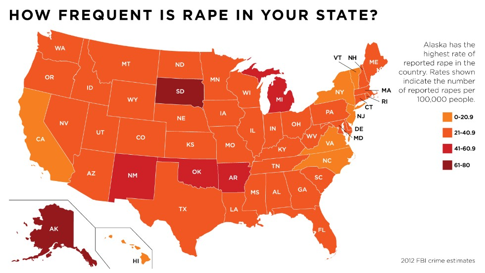 Change The List States Where Rape Is Most Common CNN - Us map of crime rates