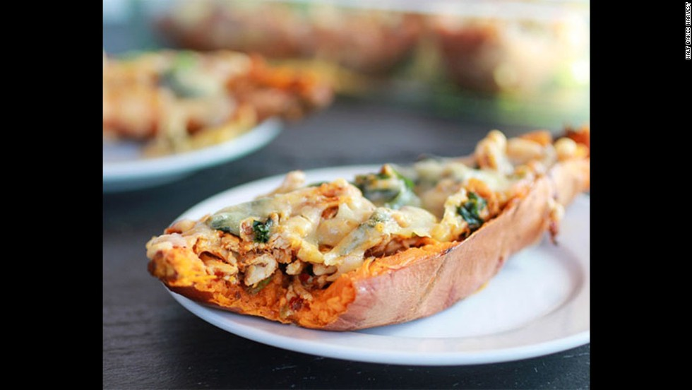 "Potato skins are a must-have for the Big Game. These <a href=""http://www.halfbakedharvest.com/healthy-chipotle-chicken-sweet-potato-skins/"" target=""_blank"">chipotle chicken sweet potato skins</a> feature sweet potatoes, which are lower in calories and higher in fiber, paired with low-fat cheese."
