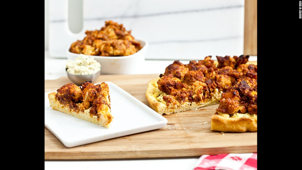 Vegans at your game party? Try this buffalo-cauliflower wing pizza with tofu-blue cheese spread. Roasting cauliflower makes it crunchy and chewy, not rubbery.