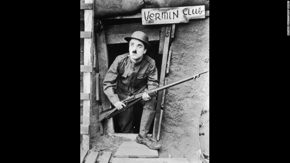 """The Great War is the subject of Chaplin's """"Shoulder Arms"""" (1918)."""