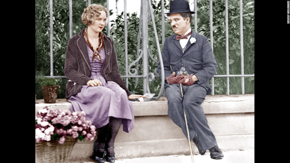 """In 1931's """"City Lights,"""" the Tramp falls for a blind girl."""