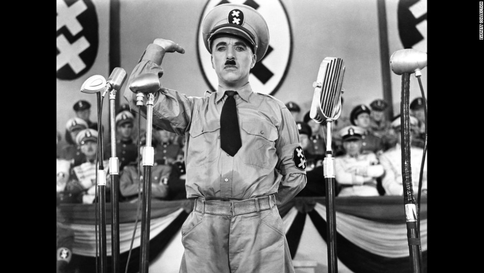 "In ""The Great Dictator"" (1940) Chaplin plays dual roles as Adenoid Hynkel, a dictator trying to expand his empire, and a Jewish barber attempting to avoid persecution from Hunkel's policies."