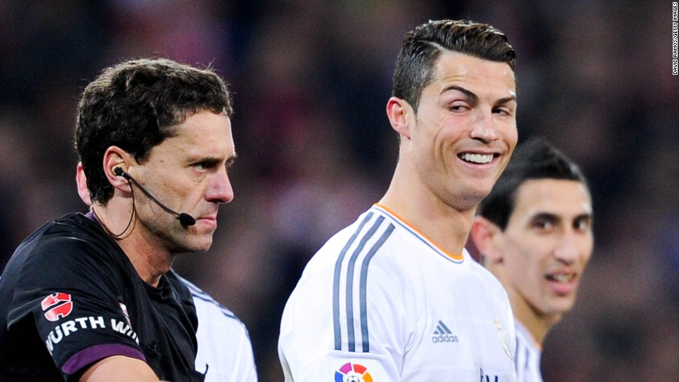Cristiano Ronaldo raises an ironic smile after being shown a red card by the referee Ayza Gamez during Real's 1-1 draw at Athletic Bilbao.
