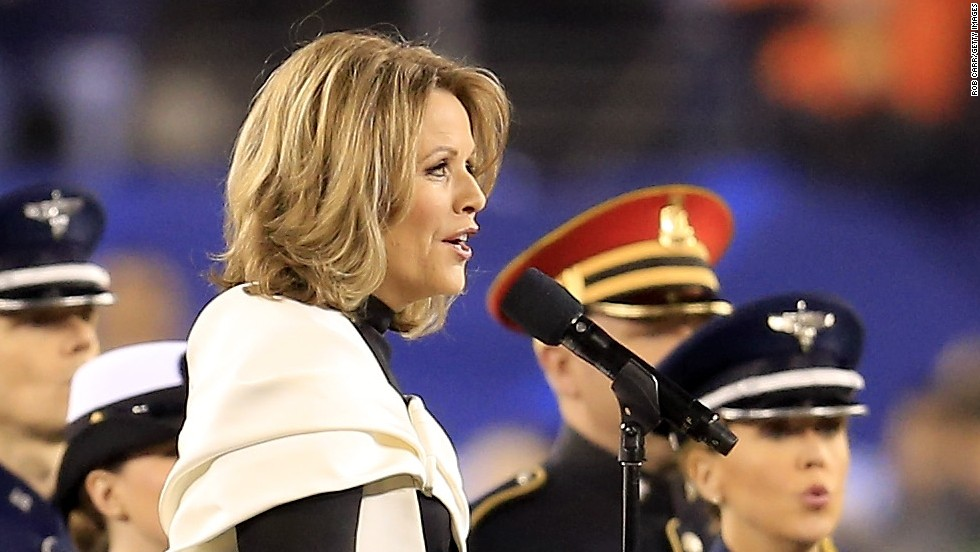 Opera singer Renee Fleming enchanted the crowd with her rendition of the American national anthem before the kickoff.