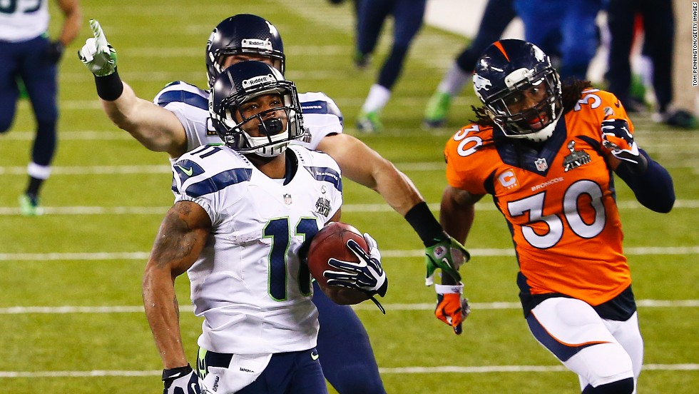 Wide receiver Percy Harvin is on his way to completing an 87-yard return from the kick off at the start of the second half to put Seattle out of sight in Super Bowl XLVIII