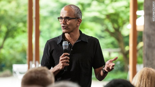 Satya Nadella, executive vice president, Cloud and Enterprise, addresses employees during the One Microsoft Town Hall event. July 11, 2013