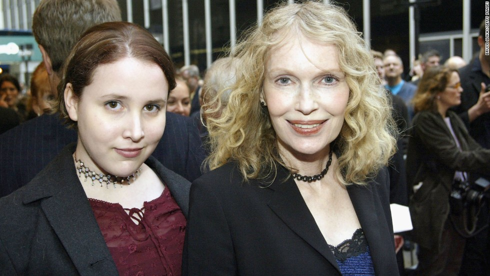 "Mia Farrow and then-teen daughter Malone Farrow arrive at the opening night of ""Gypsy"" on Broadway at The Shubert Theatre in 2003 in New York. Malone previously went by the name ""Dylan"" and has accused Woody Allen of assaulting her when she was 7 years old, <a href=""http://www.cnn.com/2014/02/01/showbiz/dylan-farrow-open-letter/"">a claim Allen has denied.</a>"