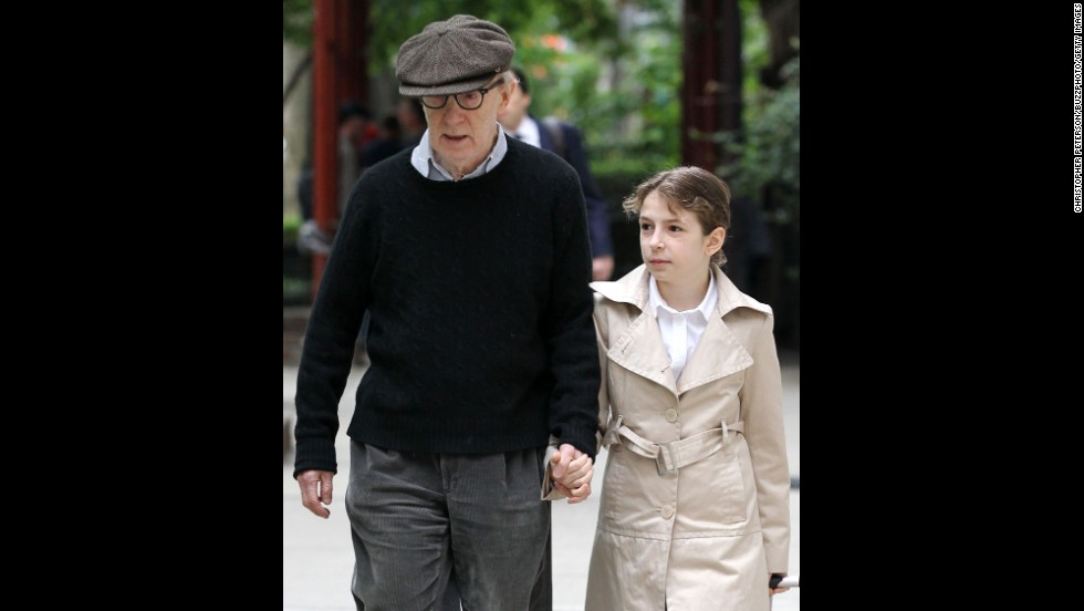 Woody Allen and wife Soon-Yi Previn are the parents of adopted daughter Manzie Tio Allen, shown here with her father in 2011 in New York.