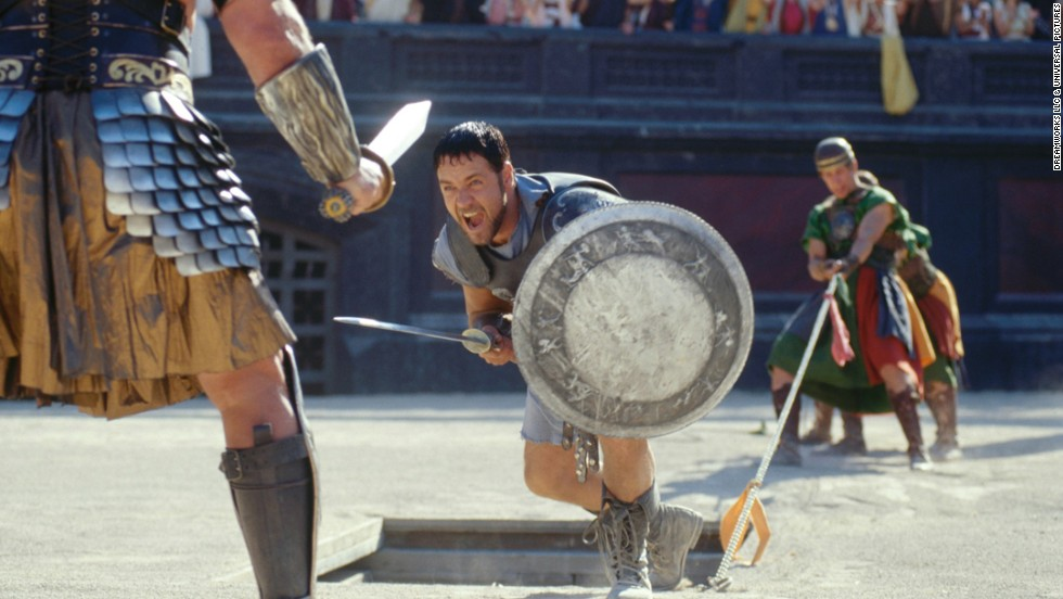 "Russell Crowe stars as Maximus in ""Gladiator,"" the hugely successful Ridley Scott film about a warrior in ancient Rome. The film took home five Oscars, including best actor for Crowe."