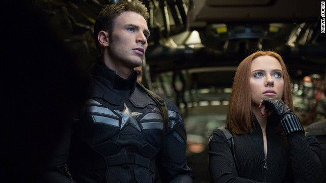 "Chris Evans and Scarlett Johansson star in ""Captain America: The Winter Soldier."""