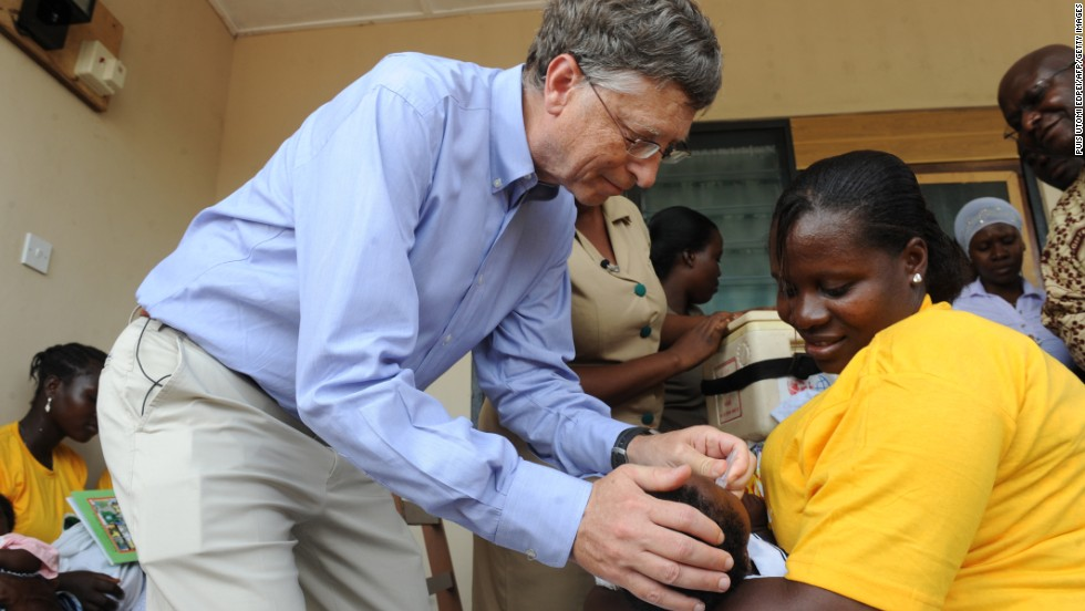 Gates, one of the world's richest men and highest-profile aid donors, gives a child a vaccination in Ghana on March 26, 2013. The Gates Foundation donates at least 5% of its assets each year to fight polio, HIV/AIDS, tuberculosis, malaria and other infectious diseases across the globe.