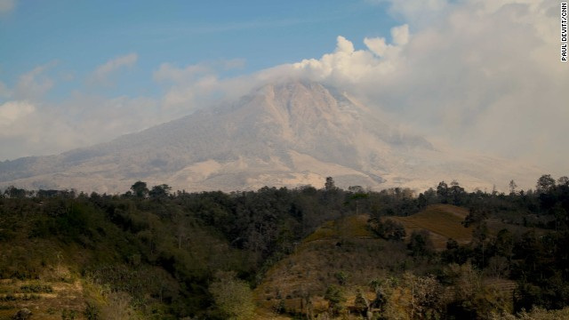 Mt. Sinabung is an impressive sight from all vantage points in the area. The constant funnel of smoke can be seen from kilometers away on all directions.