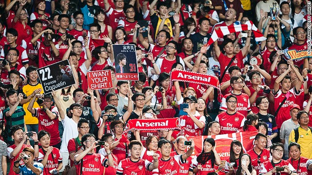 Chinese soccer fans say Arsenal is their favorite club. Here huge numbers turns out to watch the London club on tour.