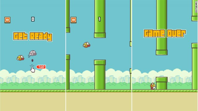 The three stages of the addictive Flappy Bird smartphone game: hope, adrenaline, grief.