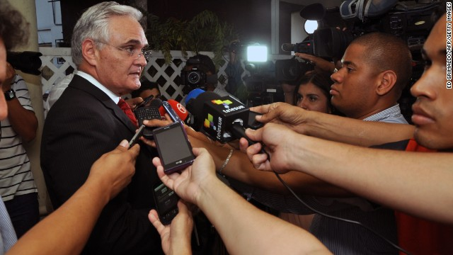 Panama Canal Authority, Jorge Quijano, speaks to the media after holding a meeting with the Grupo Unidos por el Canal (GUPC) consortium, in Panama City, on January 29, 2014. The GUPC consortium, led by Spanish builder Sacyr, is threatening to halt construction if they do not receive a 1.6 billion dollar payment for unexpected costs.