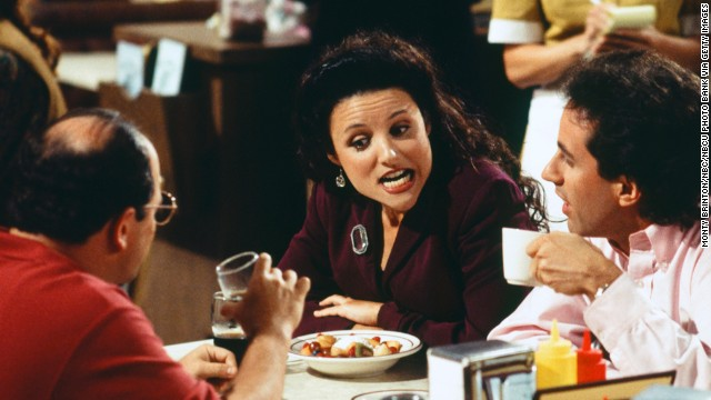 "SEINFELD -- ""The Mango"" Episode 1 -- Pictured: (l-r) Jason Alexander as George Costanza, Julia Louis-Dreyfus as Elaine Benes, Jerry Seinfeld as Himself  (Photo by Monty Brinton/NBC/NBCU Photo Bank via Getty Images)"
