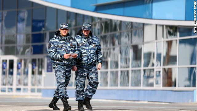 SOCHI, RUSSIA - FEBRUARY 05: Security personnel walk through Olympic Park ahead of the Sochi 2014 Winter Olympics on February 5, 2014 in Sochi, Russia. (Photo by Paul Gilham/Getty Images)