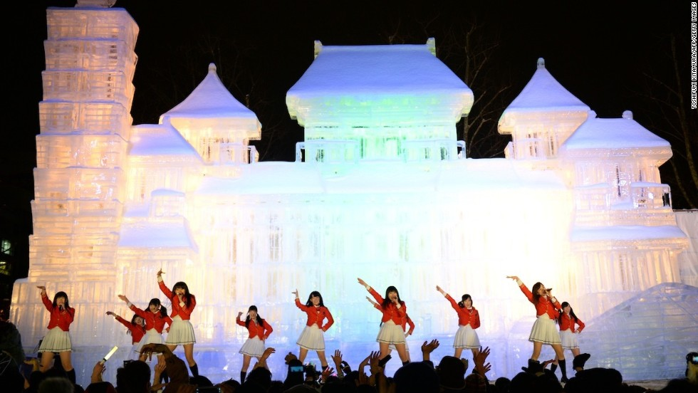 Sapporo pop band Team Crereco performed in front of the Taipei National Palace Museum sculpture on opening night of the Sapporo Snow Festival.