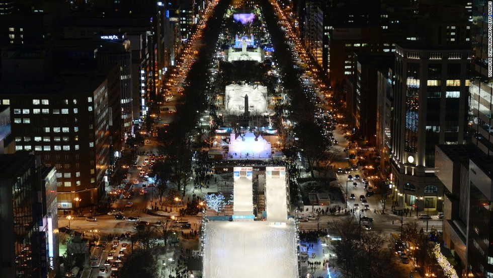 The Sapporo Snow Festival is spread over three sites. Odori Park (pictured) is the main venue. It stretches through downtown Sapporo and features all of the international-themed snow and ice sculptures.